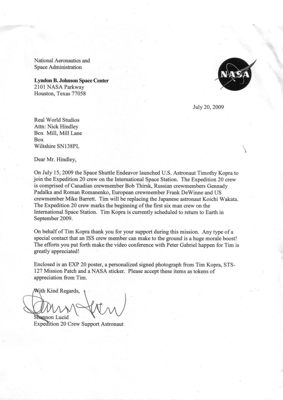 NASA Letter