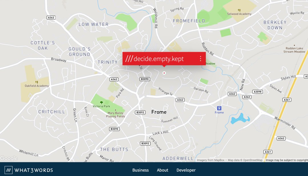 map of what3words decide empty kept address Frome Saxonvale